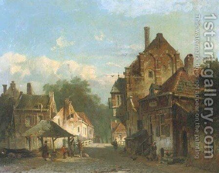 Near a bridge in a Dutch town by Adrianus Eversen - Reproduction Oil Painting