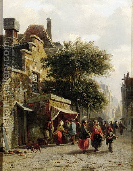 View of a street with busy market by Adrianus Eversen - Reproduction Oil Painting