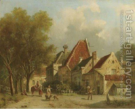Village life by Adrianus Eversen - Reproduction Oil Painting