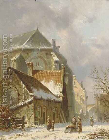 Villagers in a snowcovered street by Adrianus Eversen - Reproduction Oil Painting