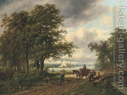 Gathering faggots by a river by Adrianus Henrikus De Bruine - Reproduction Oil Painting