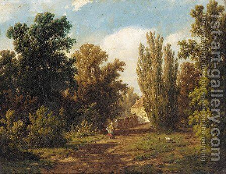 A figure on a sunlit path by Adrianus Jacobus Vrolyk - Reproduction Oil Painting