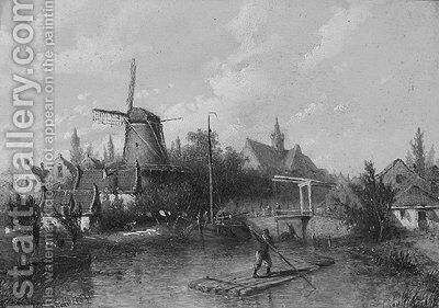 A canal in a town by Adrianus Petrus Hendrikus Wilbers - Reproduction Oil Painting