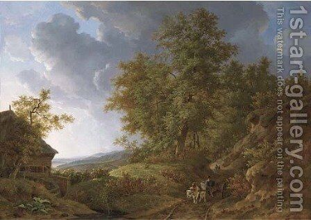 An extensive rolling landscape with travellers on a sandy track by a watermill by Adrianus Van Der Koogh - Reproduction Oil Painting