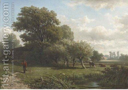 A traveller in a wooded summer landscape by Caesar Van Everdingen - Reproduction Oil Painting