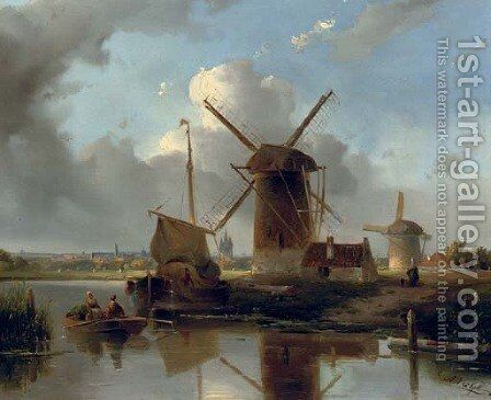 Windmills near Delft by Jacobus Adrianus Vrolijk - Reproduction Oil Painting