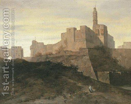 Jerusalem, a view of the city walls with the Gate of Jaffa and the Tower of David by Adrien Dauzats - Reproduction Oil Painting