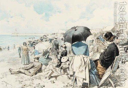Une plage bourgeoise by Adrien Emmanuel Marie - Reproduction Oil Painting