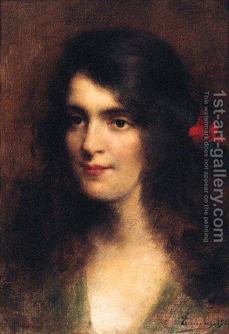 A Young Beauty With A Red Flower In Her Hair by Adrien Henri Tanoux - Reproduction Oil Painting