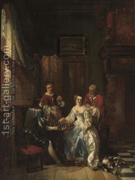 A lesson in chess by Adrien Joseph Verhoeven-Bell - Reproduction Oil Painting