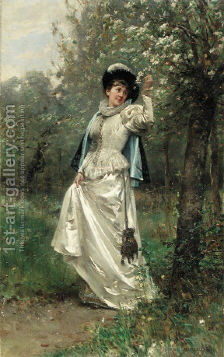 Beneath the cherry blossoms by Adrien Moreau - Reproduction Oil Painting