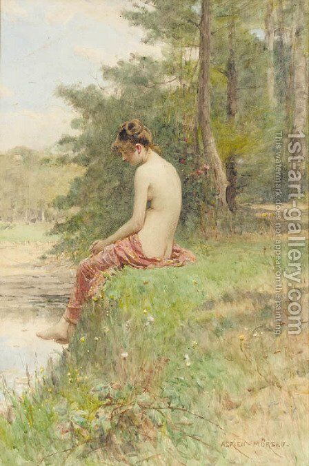 Distant thoughts by Adrien Moreau - Reproduction Oil Painting