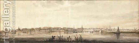 A view of Dordrecht from the end of the Papendrechtse bank of the river Noord by Aelbert Cuyp - Reproduction Oil Painting