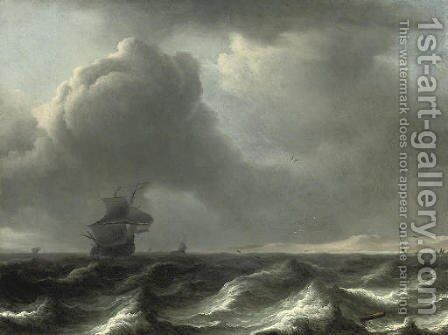 A 'wijdschip' in choppy waters, other vessels beyond by Aernout Smit - Reproduction Oil Painting
