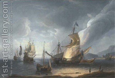 A coastal nocturne with a ship ablaze on the shore, others in a calm beyond, a fortified port beyond by Aernout Smit - Reproduction Oil Painting