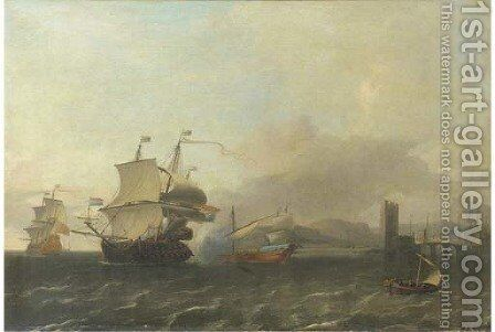 A naval engagement off the coast of a harbour town by Aernout Smit - Reproduction Oil Painting