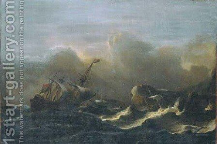 A three-master in a gale off a rocky coast by Aernout Smit - Reproduction Oil Painting