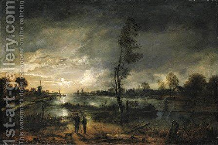 A moonlit river landscape with figures and a town beyond by Aert van der Neer - Reproduction Oil Painting