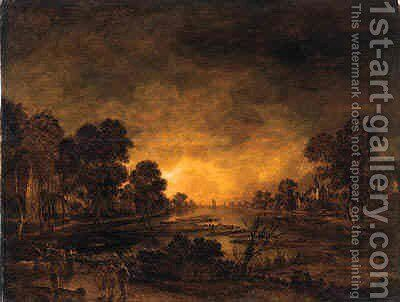 A moonlit riverlandscape with a driver and cattle on a track, a castle and a village beyond by Aert van der Neer - Reproduction Oil Painting