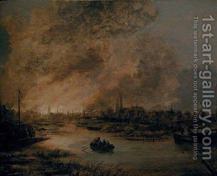 A river landscape at night with a rowing boat, a burning city beyond by Aert van der Neer - Reproduction Oil Painting