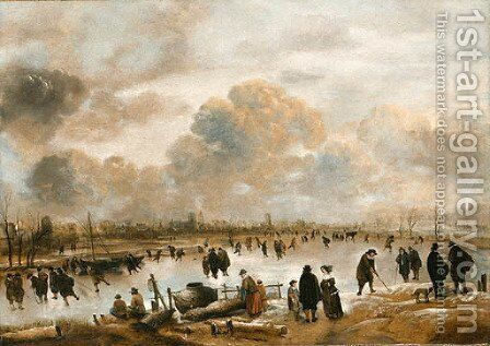 Landscape with skaters by Aert van der Neer - Reproduction Oil Painting