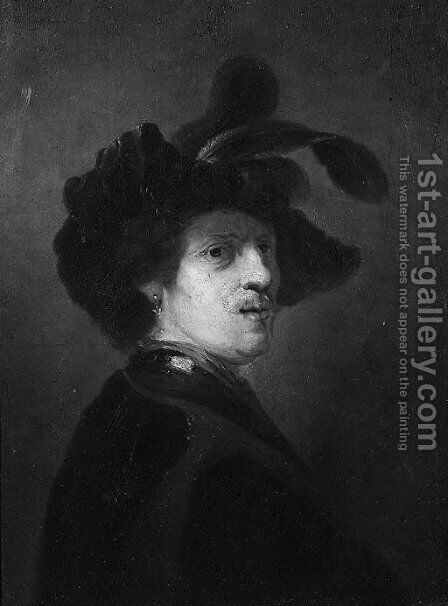 Bust Of A Man With A Plumed Cap by (after) Rembrandt Van Rijn - Reproduction Oil Painting