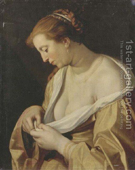 A woman catching flees in her dress by (after) Abraham Bloemaert - Reproduction Oil Painting