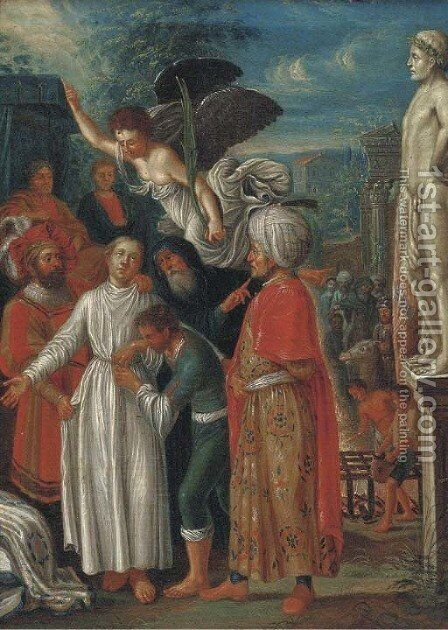 Saint Lawrence prepared for Martyrdom by (after) Adam Elsheimer - Reproduction Oil Painting