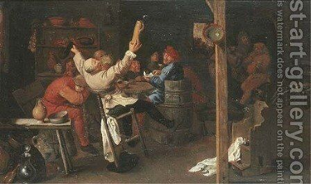 Boors drinking and making merry in an inn by (after) Adriaen Brouwer - Reproduction Oil Painting