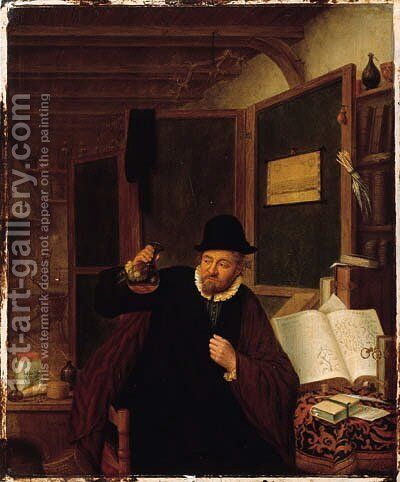 A piskijker in his study by (after) Adriaen Jansz. Van Ostade - Reproduction Oil Painting