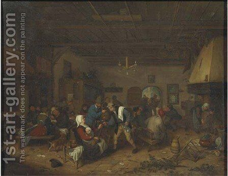 Peasants drinking and conversing in an inn by (after) Adriaen Jansz. Van Ostade - Reproduction Oil Painting