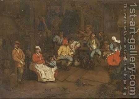 Peasants drinking and making merry in a tavern by (after) Adriaen Jansz. Van Ostade - Reproduction Oil Painting