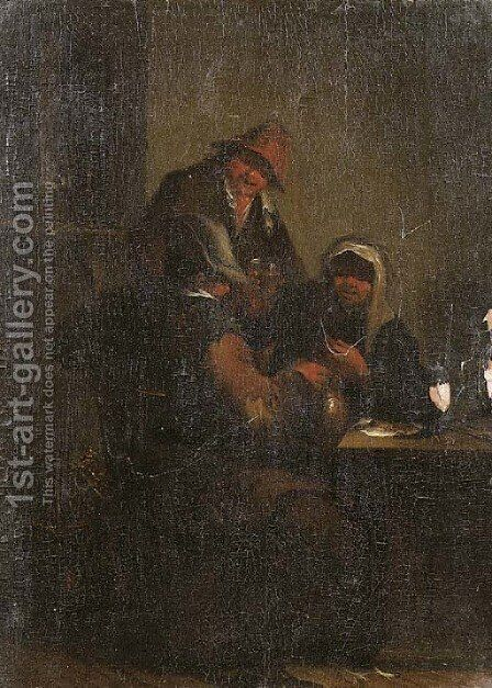 Peasants in an interior by (after) Adriaen Jansz. Van Ostade - Reproduction Oil Painting