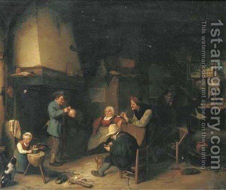 Peasants smoking and drinking in an inn by (after) Adriaen Jansz. Van Ostade - Reproduction Oil Painting