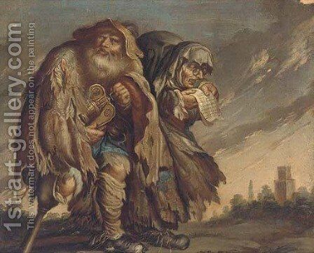 A peasant couple by (after) Adriaen Pietersz. Van De Venne - Reproduction Oil Painting