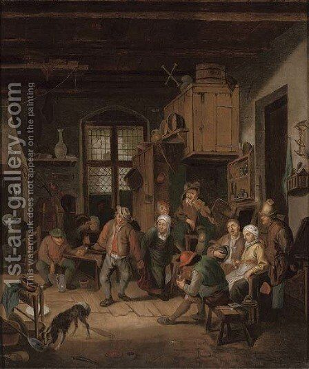 Boors drinking in a tavern by Adriaen Jansz. Van Ostade - Reproduction Oil Painting