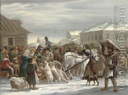 Bazaar on Sennaya by (after) Aleksander Osipovich Orlovski - Reproduction Oil Painting