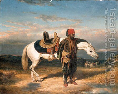 An Arabian horseman watering by (after) Alfred De Dreux - Reproduction Oil Painting