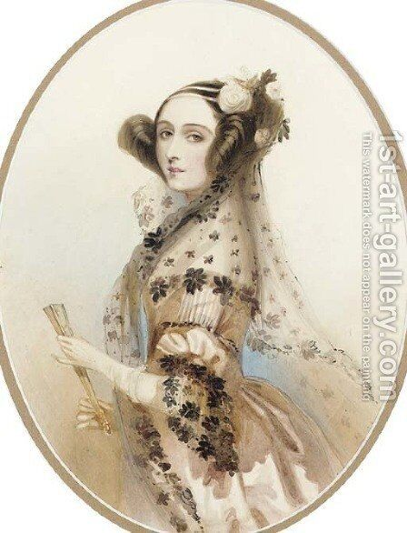 Ada, Countess of Lovelace by Alfred-Edward Chalon - Reproduction Oil Painting