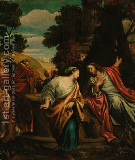 Christ and the woman of Samaria by (after) Annibale Carracci - Reproduction Oil Painting