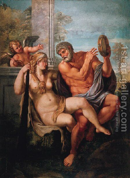 Hercules and Omphale by (after) Annibale Carracci - Reproduction Oil Painting