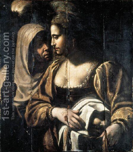 Judith with the head of Holofernes by (after) Antiveduto Grammatic - Reproduction Oil Painting