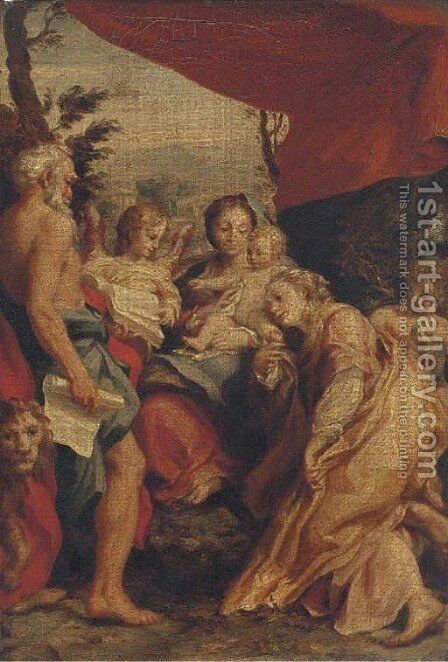 The Madonna and Child with Saints Jerome and Mary Magdalene and angels by Correggio (Antonio Allegri) - Reproduction Oil Painting