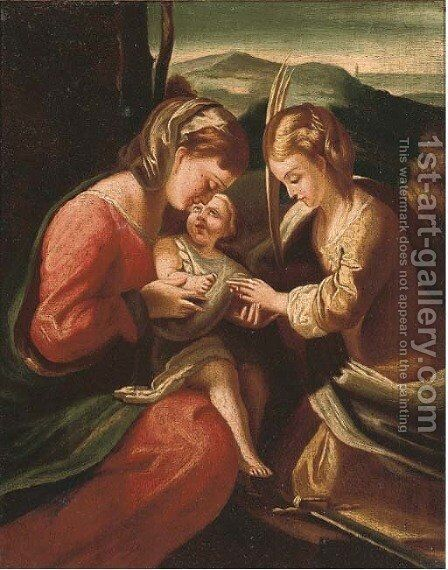The Mystic Marriage of Saint Catherine by Correggio (Antonio Allegri) - Reproduction Oil Painting