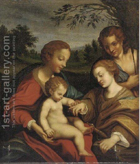 The Mystic Marriage of Saint Catherine 2 by Correggio (Antonio Allegri) - Reproduction Oil Painting
