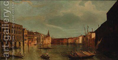 The Grand Canal, Venice, from the Ca' Foscari by (Giovanni Antonio Canal) Canaletto - Reproduction Oil Painting