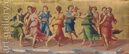 Apollo and the Nine Muses by (after) Baldassare Peruzzi - Reproduction Oil Painting