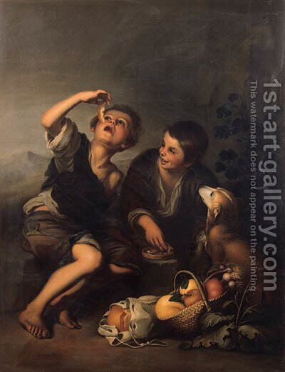 Boys seated in a landscape eating a melon by Bartolome Esteban Murillo - Reproduction Oil Painting