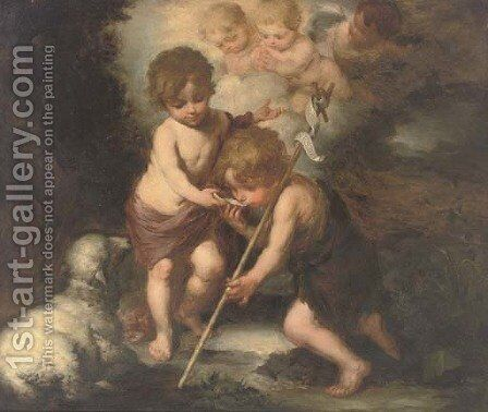 The Christ Child and the Infant Saint John the Baptist by Bartolome Esteban Murillo - Reproduction Oil Painting