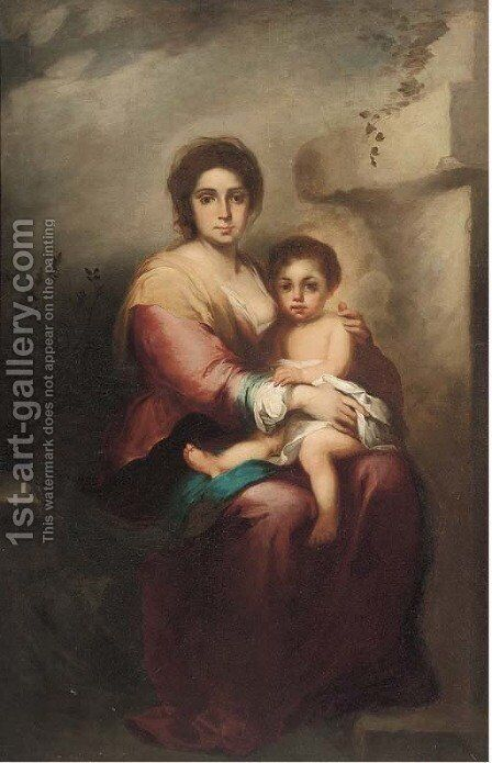 The Madonna and Child 2 by Bartolome Esteban Murillo - Reproduction Oil Painting